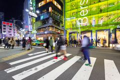 Busy streets of Shibuya district in Tokyo Stock Photos