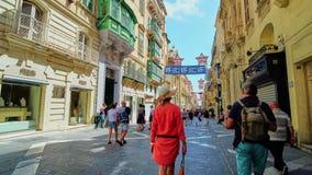 Busy streets of Valletta, Malta stock footage