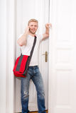 Busy student coming home Royalty Free Stock Images