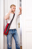 Busy student coming home Royalty Free Stock Photo