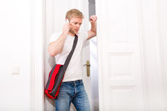 Busy student coming home Stock Image