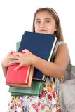 Busy student with many books Royalty Free Stock Images