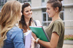 Busy students on campus royalty free stock photos