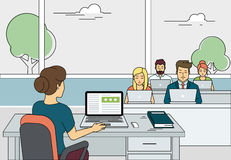 Busy students learning in a university class royalty free illustration
