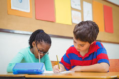 Busy students working on class work Royalty Free Stock Photos