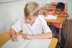 Busy students working on class work. At the elementary school Royalty Free Stock Photography