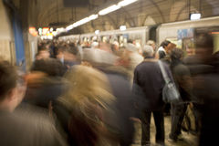 Busy Subway Platform in Rome, Italy. A busy subway station in Rome, Italy at rush hour Stock Photo
