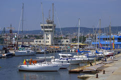 Busy summer yachts port Royalty Free Stock Photography
