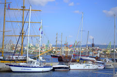 Busy summer yachts port Royalty Free Stock Images