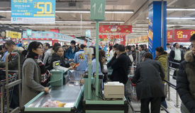 Busy supermarket Royalty Free Stock Images