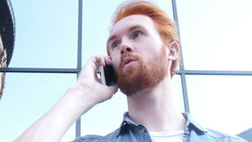 Busy Talking on Phone, Standing Outdoor. Creative designer , businessman stock video footage