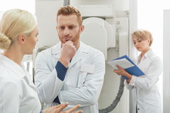 Busy team of doctors at work Royalty Free Stock Photo