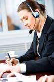 Busy telephone operator stock photo
