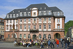 Busy terrace for the old city hall in Heidelberg Stock Photos