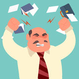 Busy time of angry businessman in hard working Royalty Free Stock Images