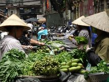 Streets of Hanoi`s Old Quarter. Busy time on the streets of the Old Quarter in Hanoi, Vietnam royalty free stock photography