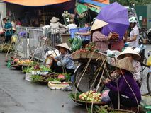 Streets of Hanoi`s Old Quarter. Busy time on the streets of the Old Quarter in Hanoi, Vietnam royalty free stock photos