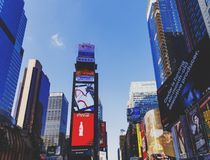 Busy Times Square in Manhattan, Nyc with plenty of billboards an Royalty Free Stock Photos