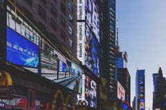 Busy Times Square in Manhattan, Nyc with plenty of billboards an Stock Photography
