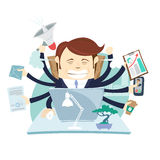 Busy tired Angry Businessman Multitasking At Desk In Office work Stock Photo
