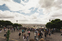 Busy tourist destination in Paris. Busy street in Paris overlooking the city Royalty Free Stock Images