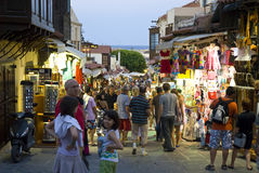Busy trading street. Sokrates (Sokratous) street in Rhodes old town, major tourist attraction