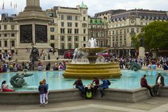 Busy Trafalgar Square in London, UK Stock Photos