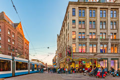 Busy traffic at the Amsterdam Dam square, The Netherlands Royalty Free Stock Images