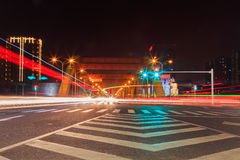 Busy traffic in big city at night on bridge. Eastphoto, tukuchina,  busy traffic in big city at night on bridge Royalty Free Stock Photography