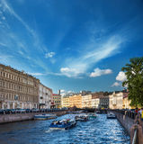 Busy traffic of boats on the Fontanka River, St. Petersburg, Rus Stock Images