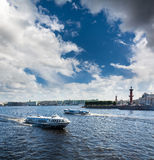 Busy traffic of boats on the Neva against the background of the Stock Image