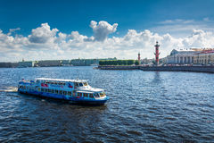 Busy traffic of boats on the Neva against the background of the Stock Images