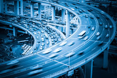 Busy traffic on bridge approach Royalty Free Stock Photography