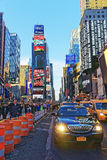 Busy Traffic on Broadway and 7th Avenue in Times Square. New York, USA - April 26, 2015: Busy Traffic and tourists on Broadway and 7th Avenue in Times Square stock images