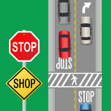 Busy Traffic Cars Stop Sign Street. Signs to stop cars to shop sale store on busy street vector illustration