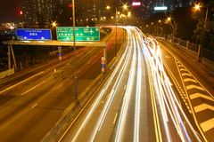 Busy traffic in downtown of Hong Kong. Show the bright side of Hong Kong - Pearl of the East Stock Photography