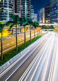 Busy traffic on highway at night Royalty Free Stock Photos