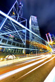 Busy traffic in highway at night in Hong Kong. It is a night scene stock photo