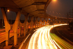 Busy traffic on highway  at night. Royalty Free Stock Photos