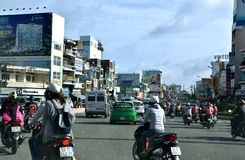 Busy traffic on Ho Chi Minh City street, VietNam Royalty Free Stock Images