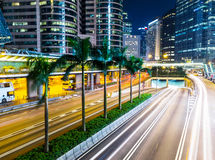 Busy traffic in Hong Kong city at night Stock Image
