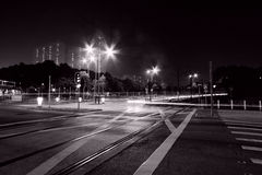 Busy traffic in Hong Kong at night Royalty Free Stock Images