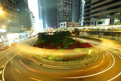 Busy traffic in Hong Kong at night Stock Photography