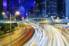 Busy traffic in Hong Kong at night Royalty Free Stock Photo