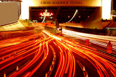 Busy traffic hour in cross harbour tunnel Stock Photo