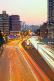 Busy traffic hour in sunset moment Royalty Free Stock Photo