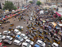 Busy traffic. In an Indian street Stock Photography