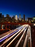 Busy traffic in New York City, Brooklyn Bridge stock image