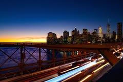 Busy traffic in New York City, Manhattan, Brooklyn Bridge stock image