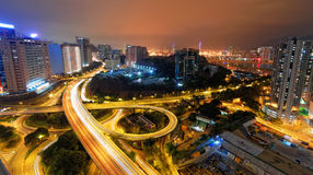 Busy traffic night in finance urban Royalty Free Stock Image